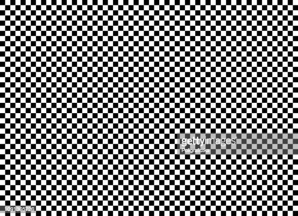 seamless background pattern - chess board - black and white wallpaper - vector illustration - optical illusion stock illustrations
