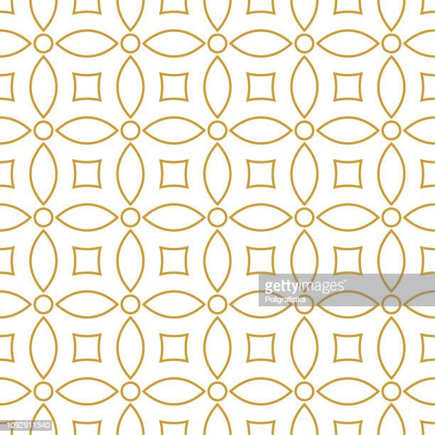 illustrazioni stock, clip art, cartoni animati e icone di tendenza di seamless background pattern - gold wallpaper - vector illustration - motivo ornamentale