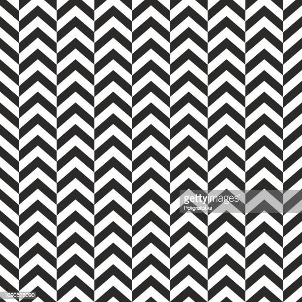 seamless background pattern - herringbone zigzag - wallpaper - vector illustration - black and white stock illustrations