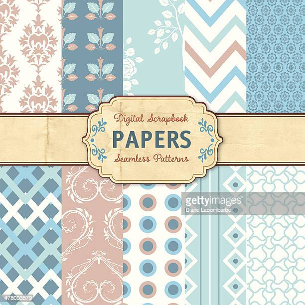 Seamless Background Pattern Set - Blue Brown