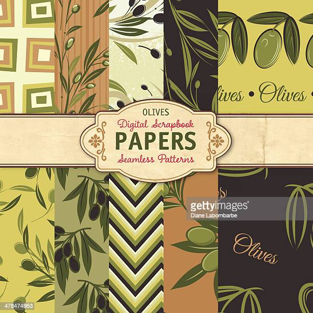 Seamless Background Pattern Set - Olives
