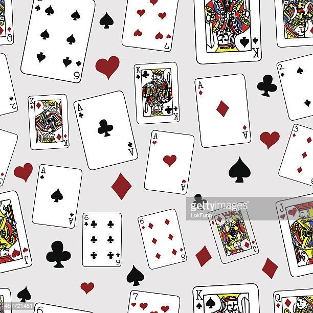 seamless background - playing cards - ace stock illustrations, clip art, cartoons, & icons