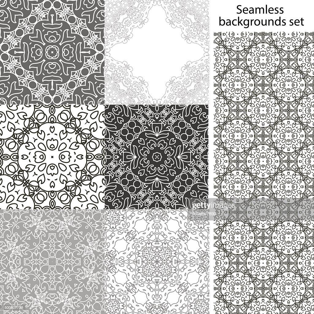 Seamless background set. Vintage geometric textures. Lace pattern.