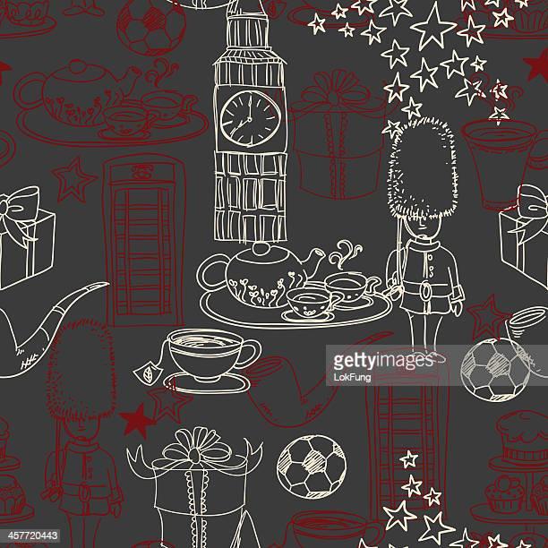 seamless background - symbols of england - british culture stock illustrations