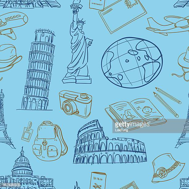 seamless background - travel - leaning tower of pisa stock illustrations, clip art, cartoons, & icons