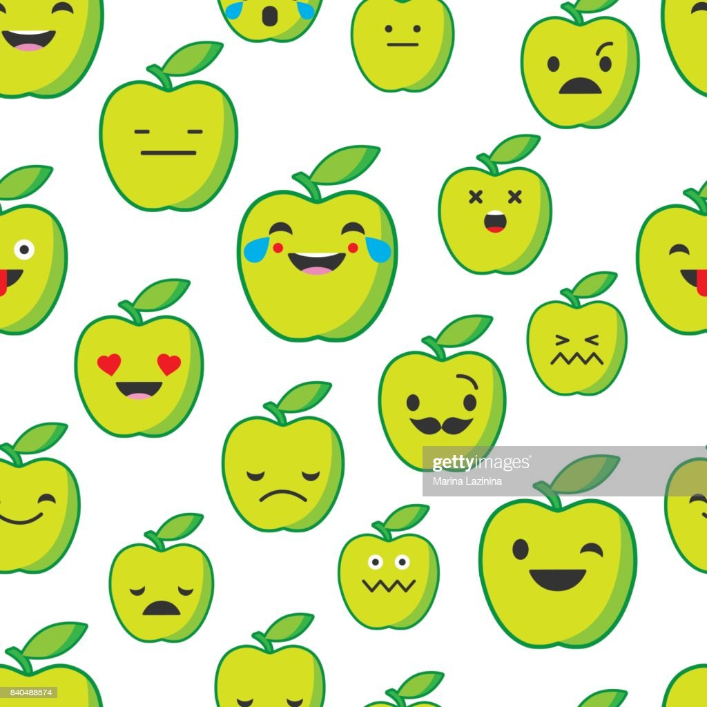 Seamless background with Apple emotions. Vector illustration. Textile rapport.