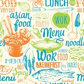 Seamless background with asian street food. Menu pattern.