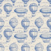 seamless background with balloons and airships