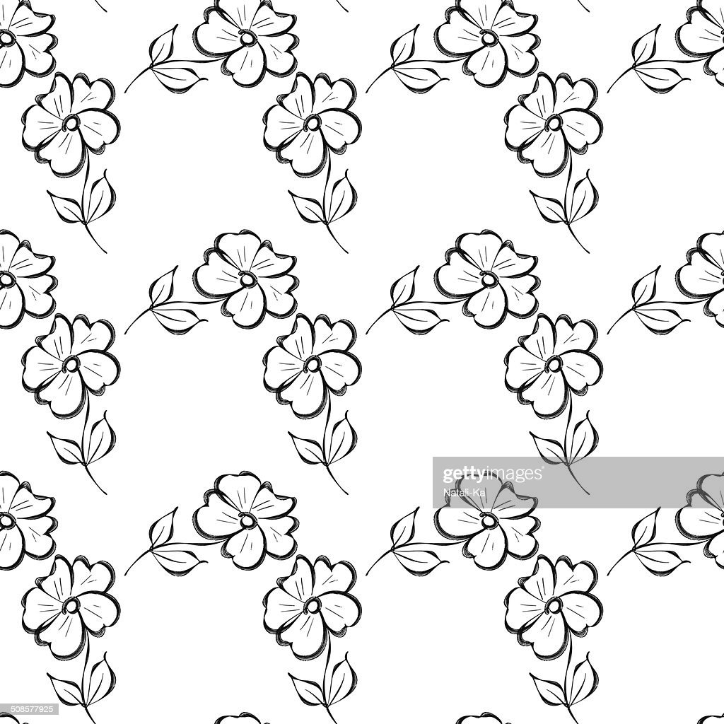 Seamless background with black watercolor flowers : Vector Art
