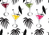 Seamless background with cocktails and palm leafs