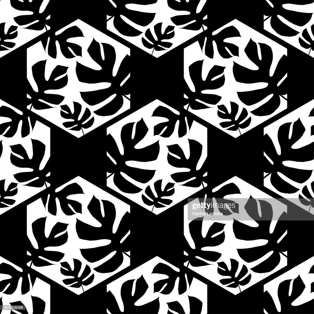 Seamless background with decorative leaves. Monstera branch leaves in the hexagon. Pattern with Palm leaves. Textile rapport.