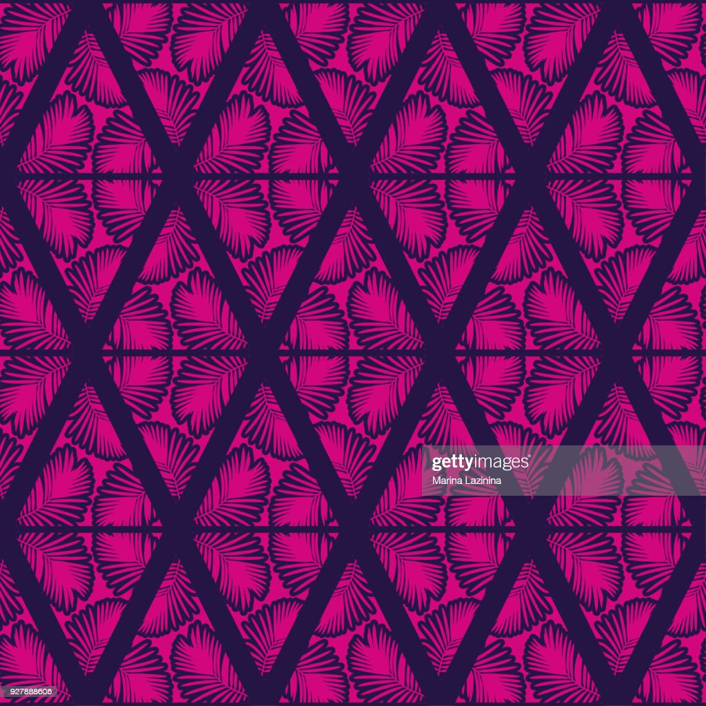 Seamless background with decorative leaves. Pattern with Palm leaves. Textile rapport.