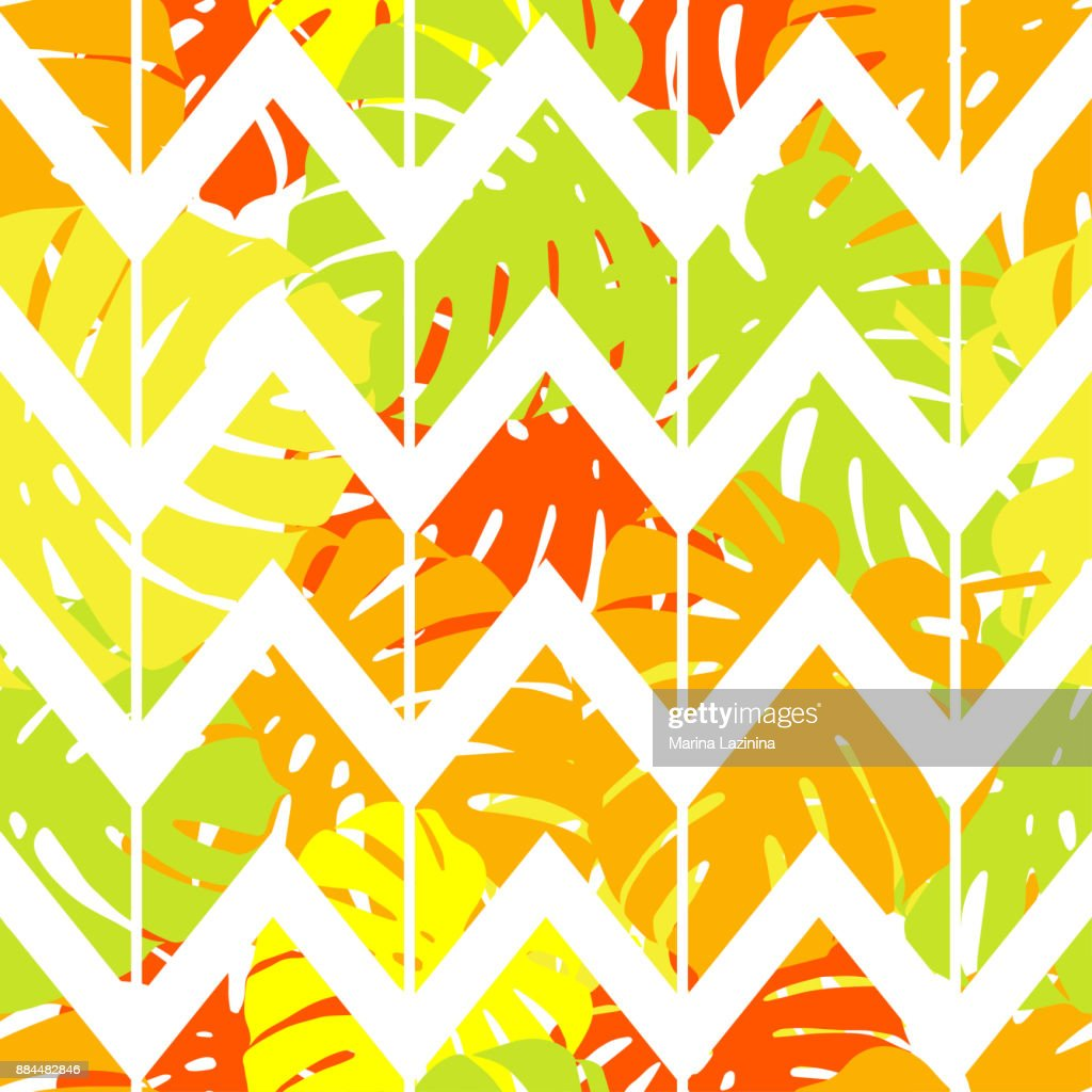 Seamless background with decorative leaves. Zigzag texture. Pattern with Palm leaves. Textile rapport.