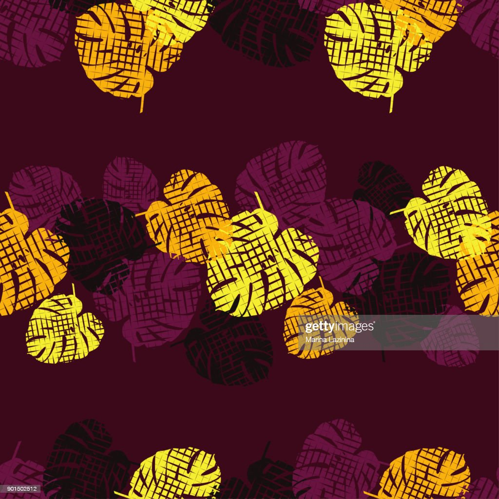Seamless background with decorative leaves. Zigzag texture. Pattern with Monstera leaves. Textile rapport.