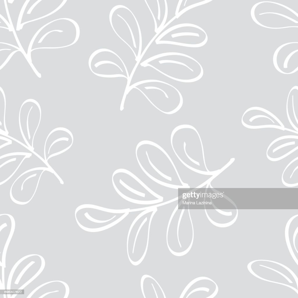 Seamless background with decorative painted branches and leaves with a black outline. Textile rapport.