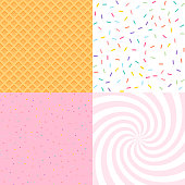 Seamless background with donut and ice cream glaze, confetti, waffle. Decorative bright sprinkles texture pattern design set
