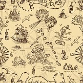 Seamless background with fantasy creatures and pirate treasure map elements