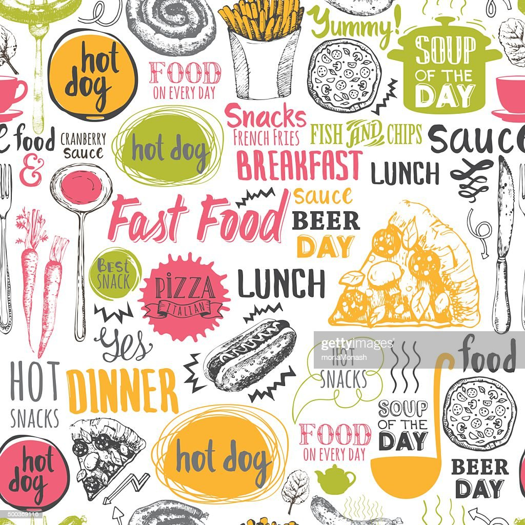 Seamless Background With Fastfood Symbols Vector Art Getty Images