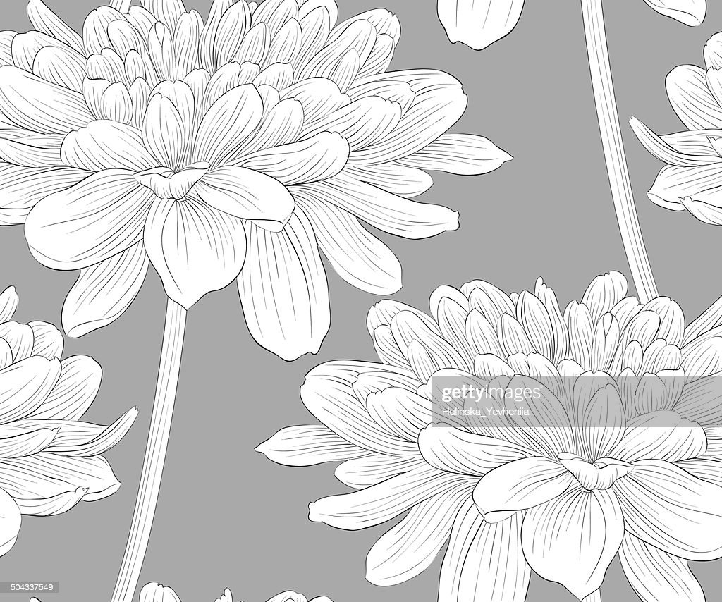 seamless background with flowers dahlia