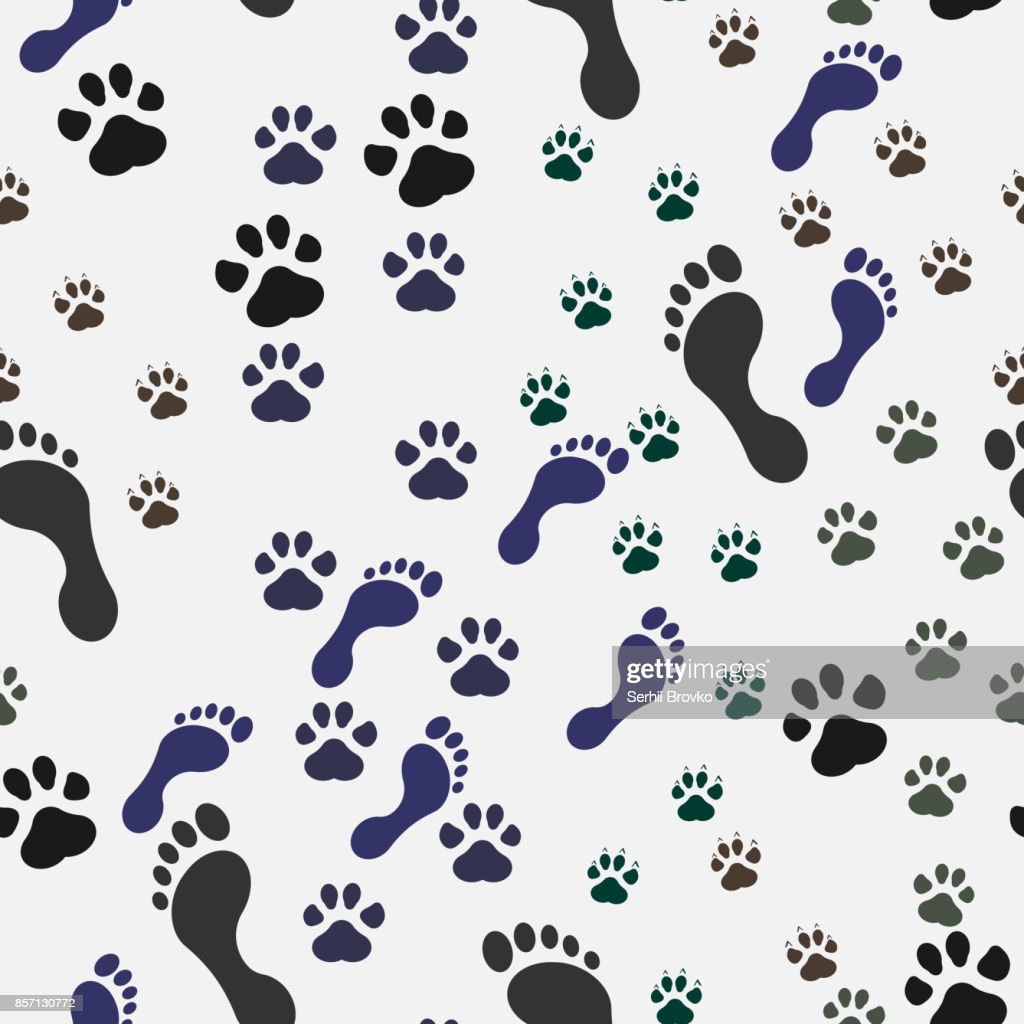 Seamless background with footprint of cat and dog and man. Vector illustration.
