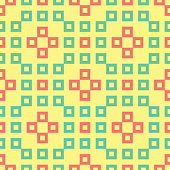 Seamless background with geometric shaped elements. Bright yellow background with pink and green design