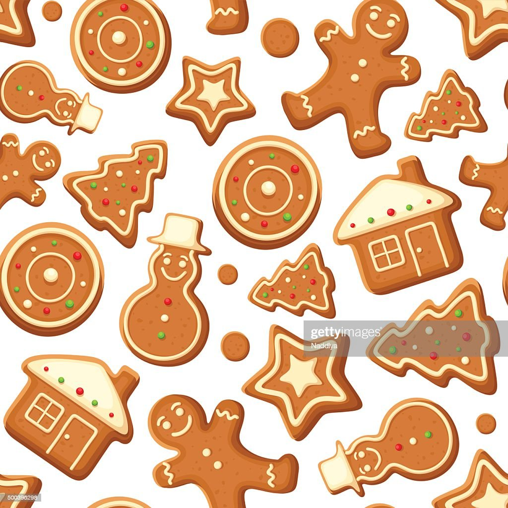 Seamless background with gingerbread cookies. Vector illustration.