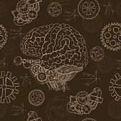 Seamless background with human brain and mechanical parts