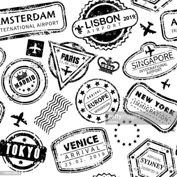 seamless background with international travel grunged stamps - tracing stock illustrations