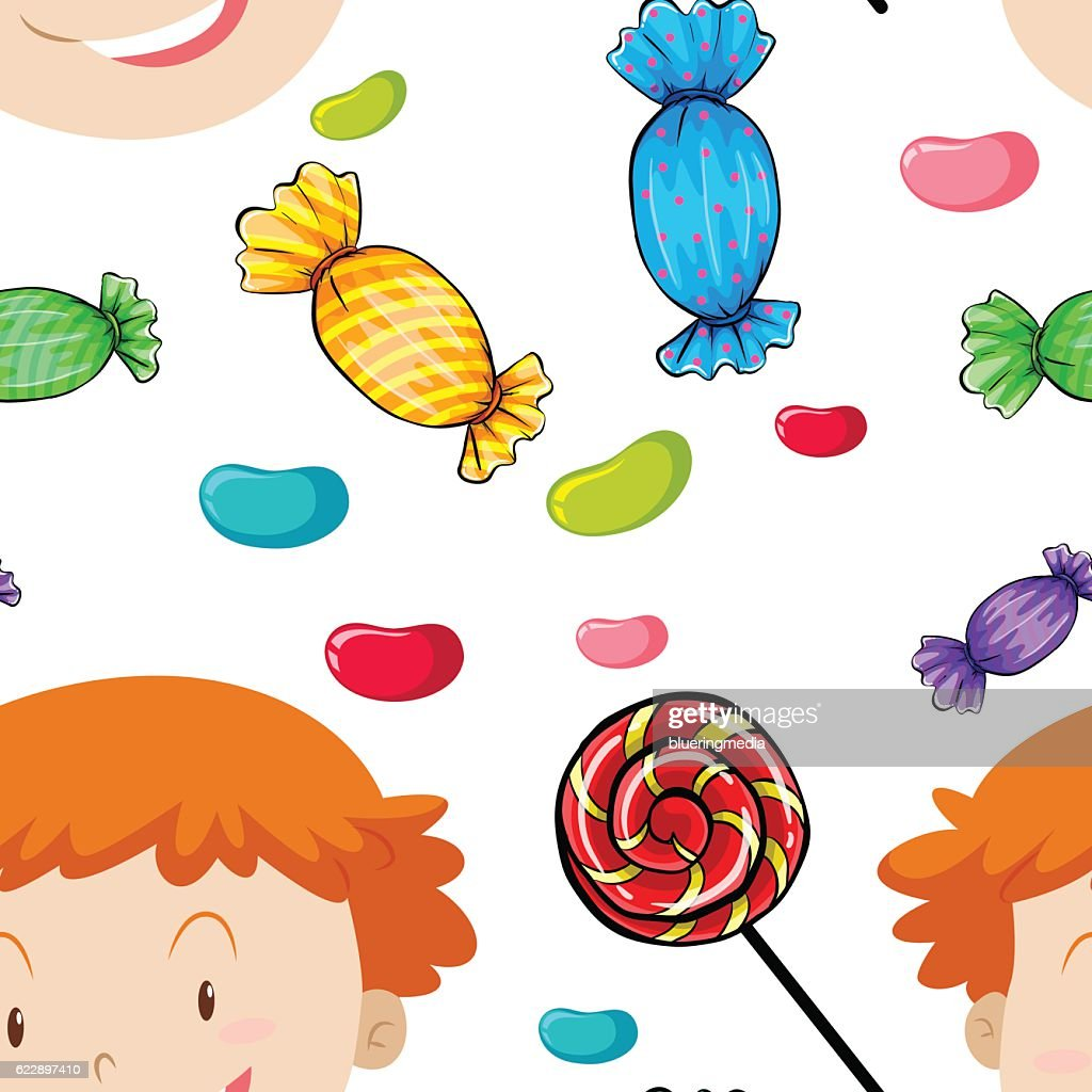 Seamless background with kids and candy