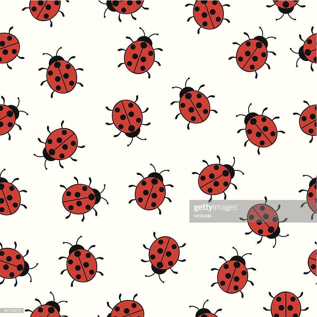 Seamless background with ladybugs : stock illustration