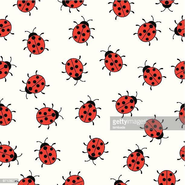 illustrations, cliparts, dessins animés et icônes de fond sans couture avec ladybugs - coccinelle