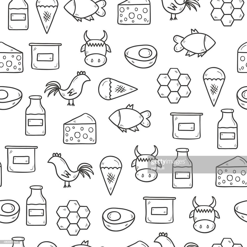 Seamless background with modern cute hand drawn outline products containing : Vector Art