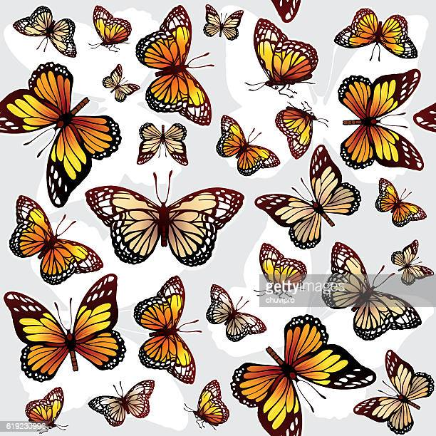 ilustraciones, imágenes clip art, dibujos animados e iconos de stock de seamless background with monarch butterflies - mariposa monarca