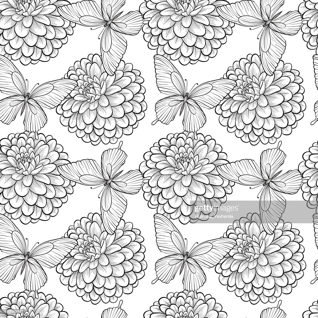 seamless background with monochrome black and white butterflies and dahlias
