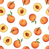 Seamless background with peaches. Vector illustration.
