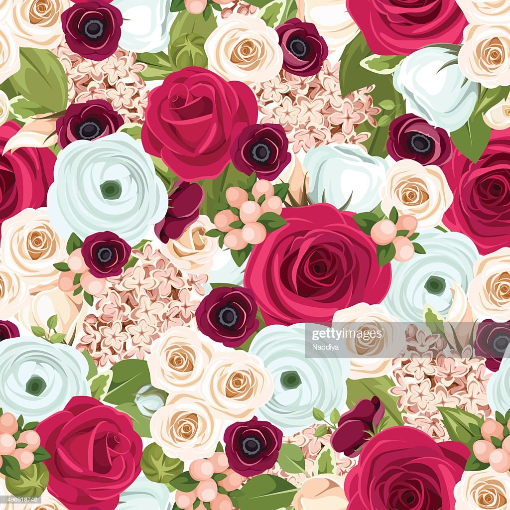 Seamless background with red, white and blue flowers. Vector illustration.