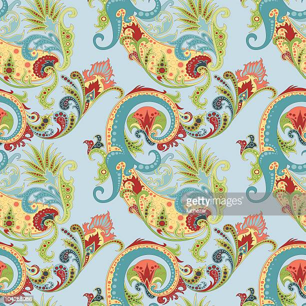 seamless background with the paisley - iranian culture stock illustrations, clip art, cartoons, & icons