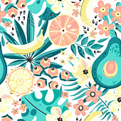 Seamless  background with tropical fruits