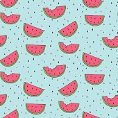 Seamless background with watermelon slices