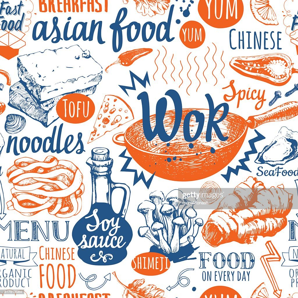 Seamless Background With Wok Food Symbols Menu Pattern Vector Art