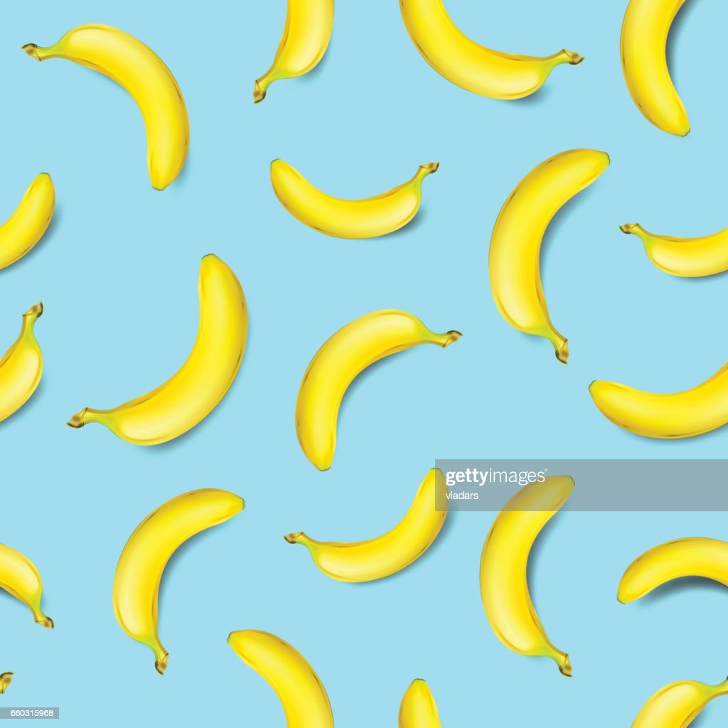 Seamless banana pattern on light blue background