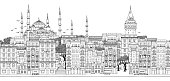 Seamless banner of Istanbul, Turkey