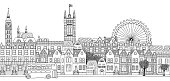 Seamless banner of London's skyline