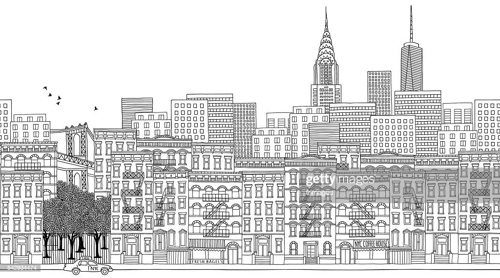Seamless banner of New York city, hand drawn
