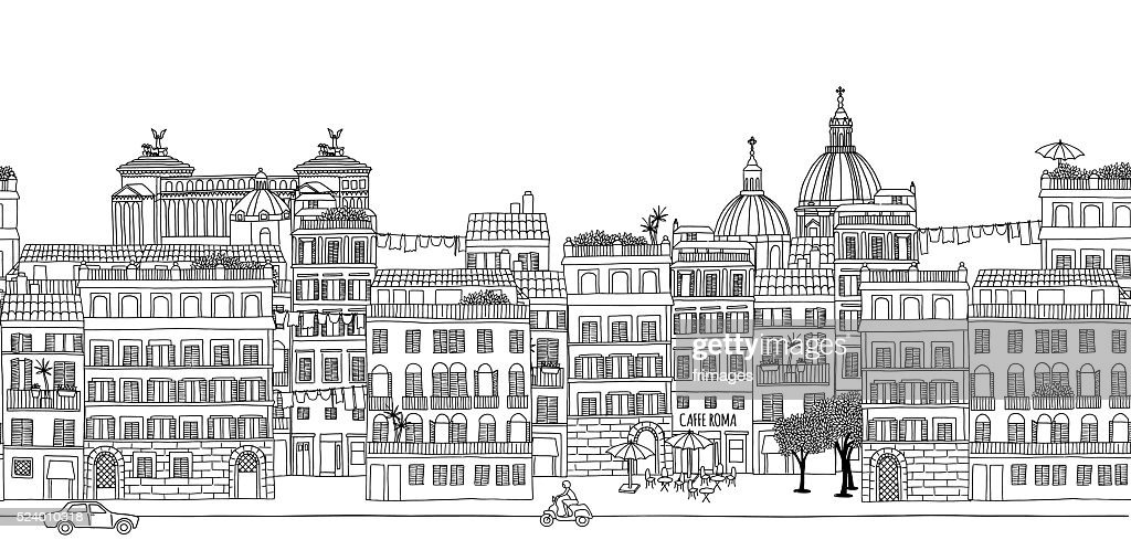 Seamless banner of Rome's skyline
