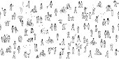 Seamless banner of tiny people