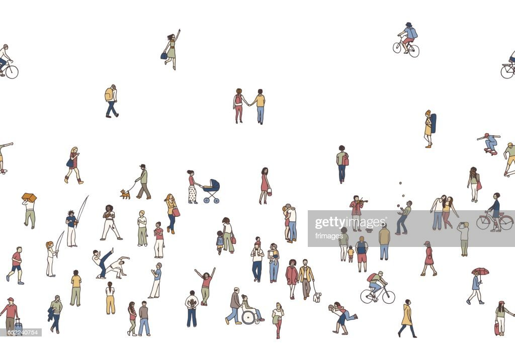 Seamless banner of tiny people, white background