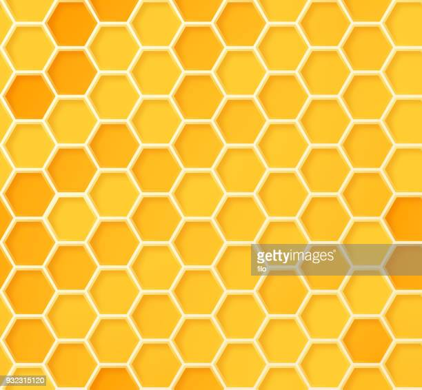 seamless beehive honeycomb pattern - loopable elements stock illustrations