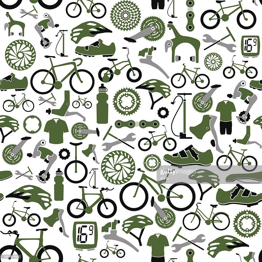 Seamless Bikes and Bike Parts Pattern : stock illustration