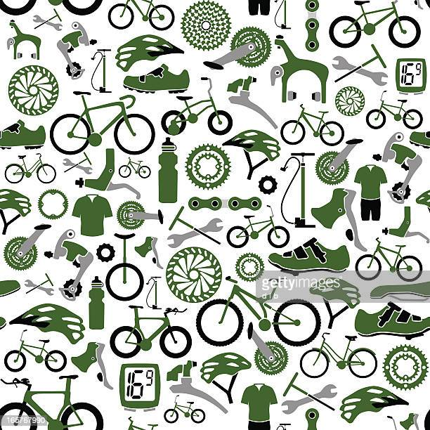 seamless bikes and bike parts pattern - derailleur gear stock illustrations, clip art, cartoons, & icons